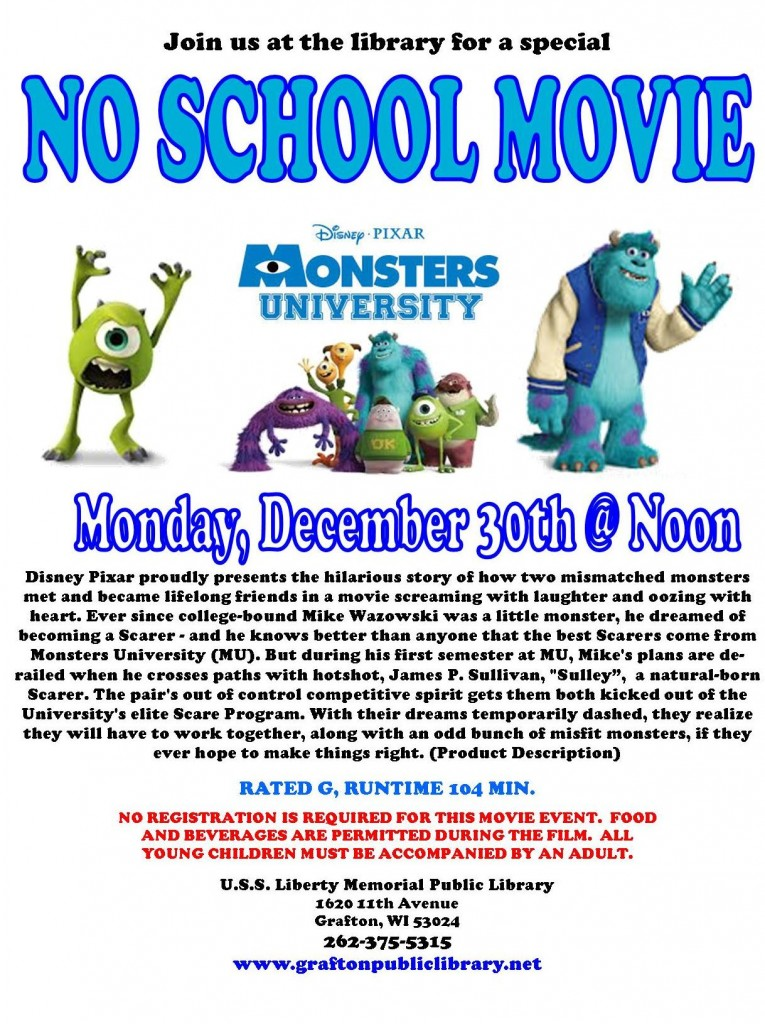 No School Movie - Monsters University