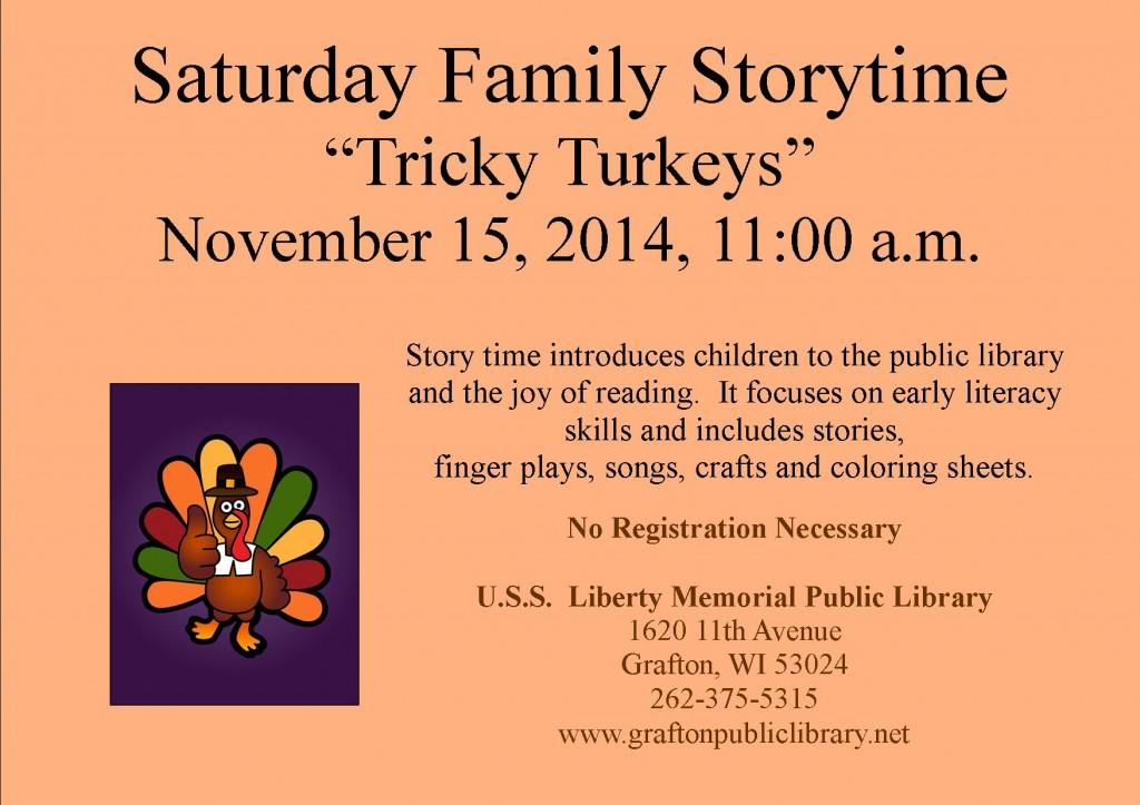 Saturday Family Story Time Sign- November 2014