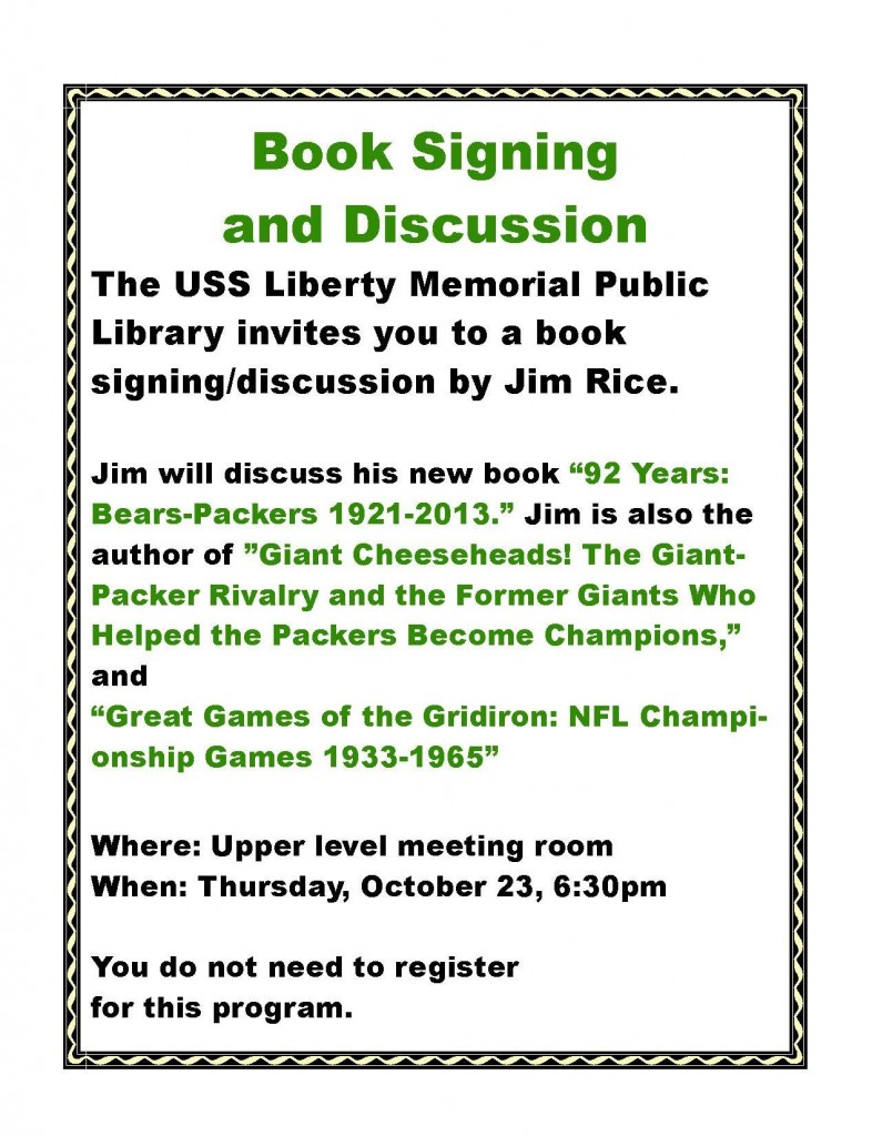 jim rice book signing bears packers